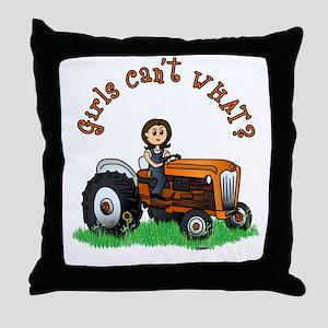 Light Orange Farmer Throw Pillow