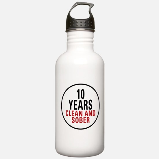 10 Years Clean & Sober Water Bottle