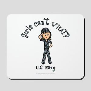 Light Navy Girl USA Mousepad