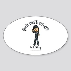 Light Navy Girl USA Sticker (Oval)