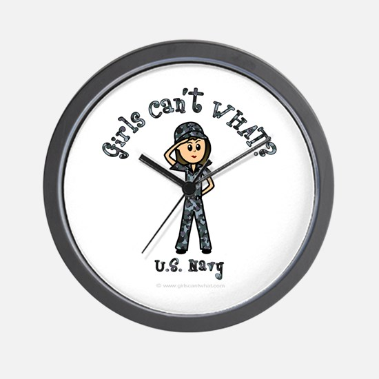 Light Navy Girl USA Wall Clock