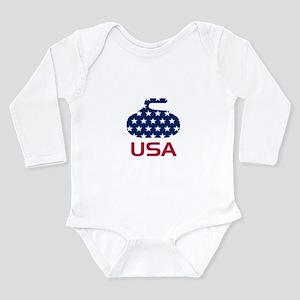 USA curling Long Sleeve Infant Bodysuit