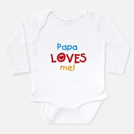 Text Papa Loves Me Long Sleeve Infant Bodysuit