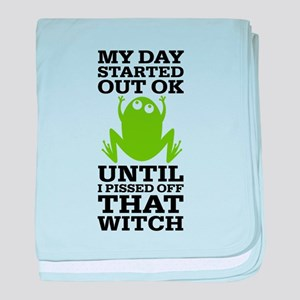 Funny Frog Mean Witch baby blanket