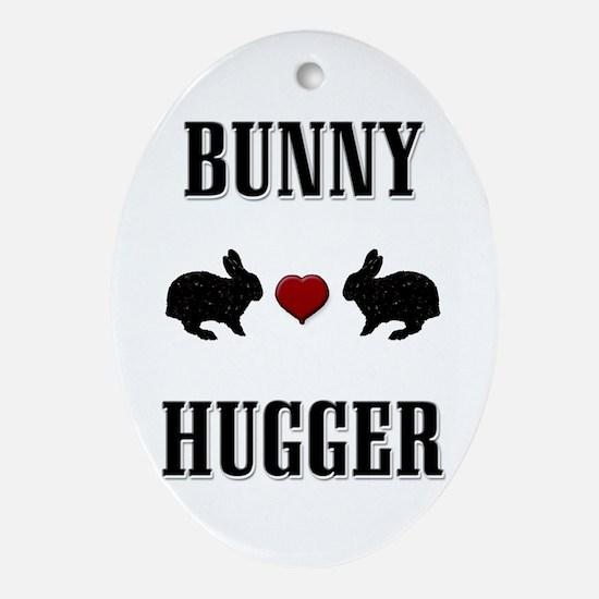 Bunny Hugger Oval Ornament