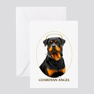 Guardian Angel Rottweiler Greeting Card