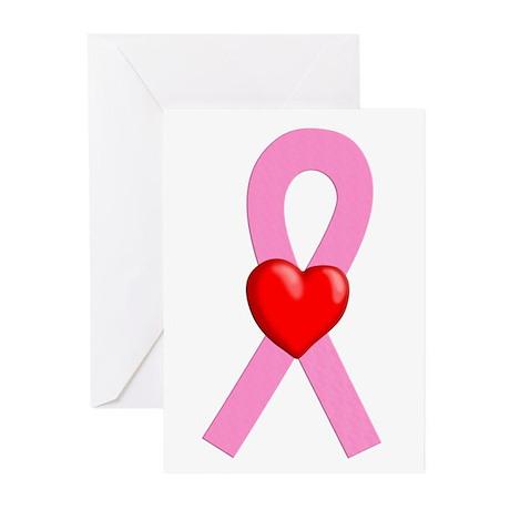 Pink Ribbon Heart Greeting Cards (Pk of 10)