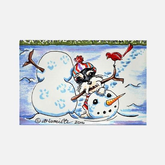 Schnauzer n Snowman Rectangle Magnet