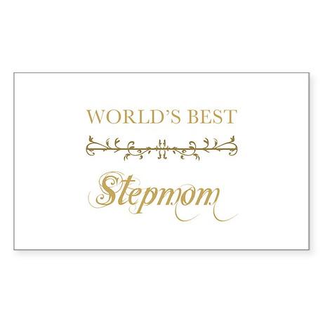 Elegant World's Best Step Mom Sticker (Rectangle)