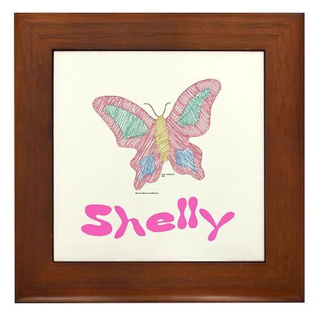 Pink Butterfly Shelly Framed Tile