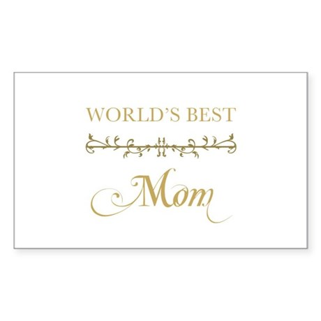Elegant World's Best Mom Sticker (Rectangle)