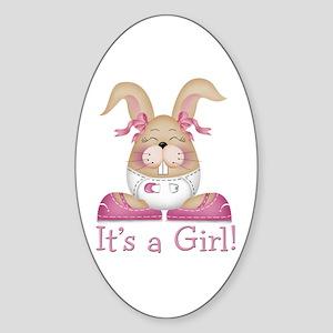 It's a Girl! Bunny Oval Sticker