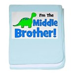 MIDDLE Brother! Dinosaur baby blanket
