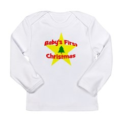 Baby's First Christmas star Long Sleeve Infant T-S