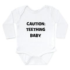 Caution: Teething Baby Long Sleeve Infant Bodysuit