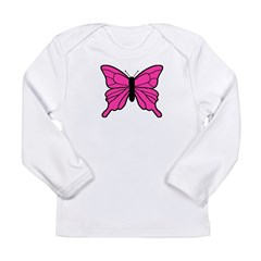 Pink Butterfly Long Sleeve Infant T-Shirt
