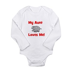 My Aunt Loves Me! w/elephant Long Sleeve Infant Bo