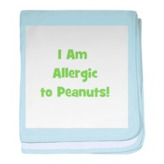 Allergic to Peanuts (green) baby blanket