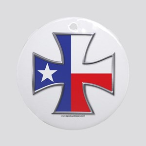 Texas Flag Iron Cross Ornament (Round)