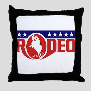 rodeo cowboy bronco Throw Pillow