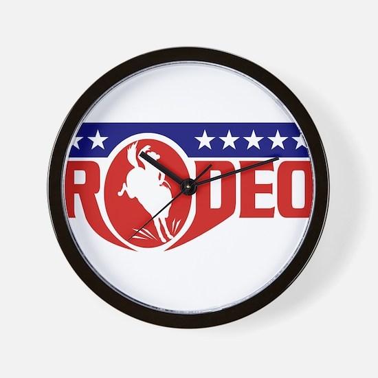 rodeo cowboy bronco Wall Clock