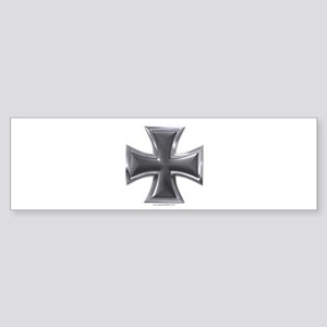 Black & Chrome Iron Cross Bumper Sticker