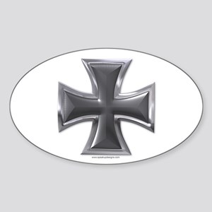 Black & Chrome Iron Cross Oval Sticker