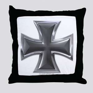 Black & Chrome Iron Cross Throw Pillow