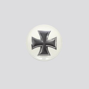 Black & Chrome Iron Cross Mini Button