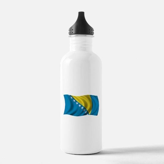 Wavy Bosnia Flag Water Bottle