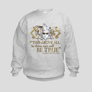 """Hamlet """"Be True"""" Quote Kids Sweatshirt"""