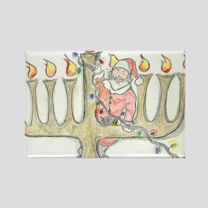 Santa Mennorah Rectangle Magnet