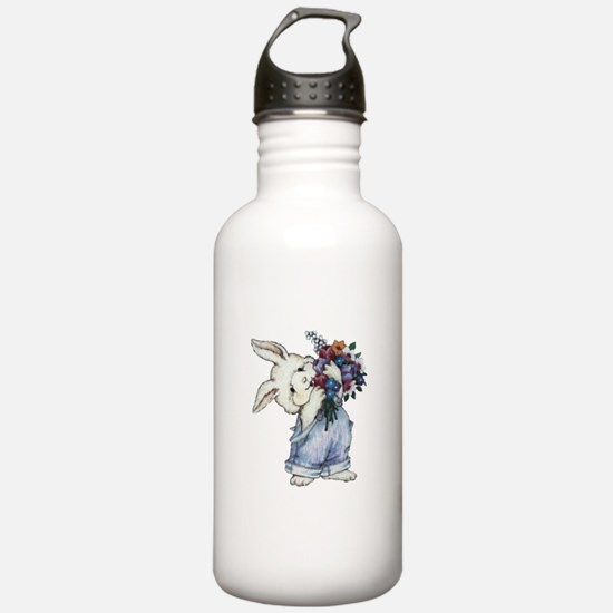 Bunny with Flowers Water Bottle