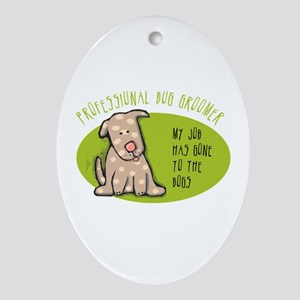 Funny Dog Groomer Ornament (Oval)