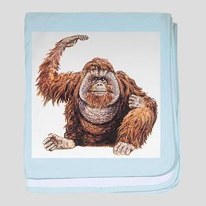 Orangutan drawing baby blanket