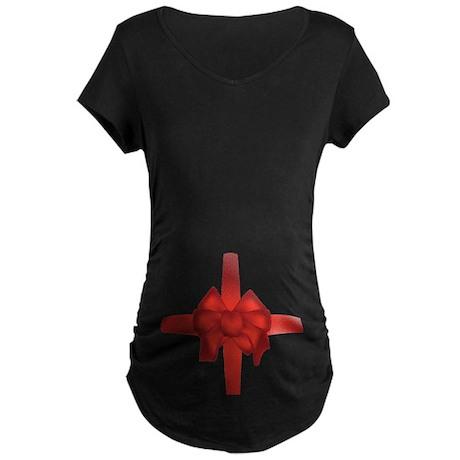 Pregnant Belly Bow Maternity Dark T-Shirt