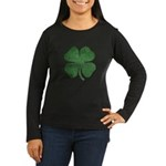 Grunge Shamrock Women's Long Sleeve Dark T-Shirt