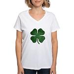 Grunge Shamrock Women's V-Neck T-Shirt