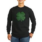 Grunge Shamrock Long Sleeve Dark T-Shirt