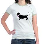 Basset Hound Breast Cancer Su Jr. Ringer T-Shirt