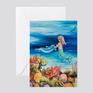 Mermaid and Dolphine meet Greeting Card
