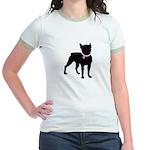 Boston Terrier Breast Cancer Support Jr. Ringer T-