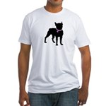 Boston Terrier Breast Cancer Support Fitted T-Shir