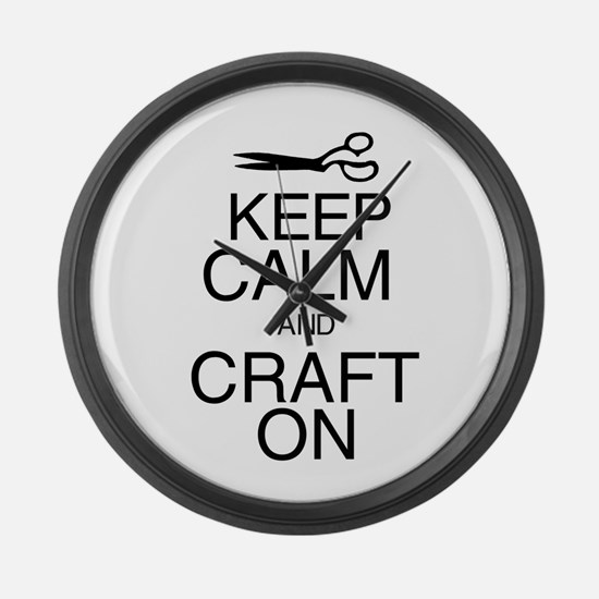 Keep Calm and Craft On Large Wall Clock