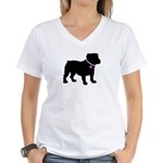 Bulldog Breast Cancer Support Women's V-Neck T-Shi