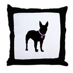 Bullterrier Breast Cancer Sup Throw Pillow