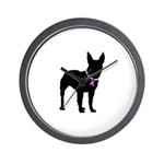 Bullterrier Breast Cancer Sup Wall Clock
