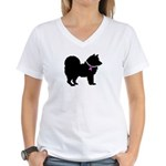 Chow Chow Breast Cancer Suppo Women's V-Neck T-Shi