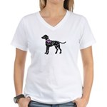 Dalmatian Breast Cancer Support Women's V-Neck T-S