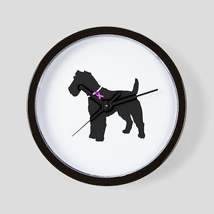 Fox Terrier Breast Cancer Sup Wall Clock